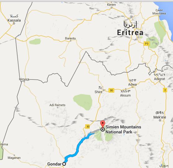 Ruta des de Gondar fins al Parc Nacional de les Muntanyes de Simien - Font: Google maps