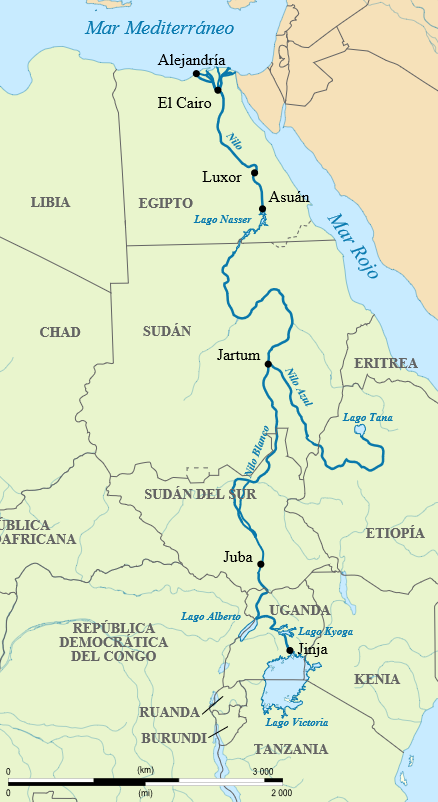 De River Nile map.svg: Hel-hama (discusión · contribuciones)derivative work: Rowanwindwhistler (discusión) - River Nile map.svg, CC BY-SA 4.0, https://commons.wikimedia.org/w/index.php?curid=38554770